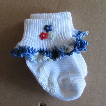 Crochet July 4th Red White Blue Baby Ruffle Socks Socks
