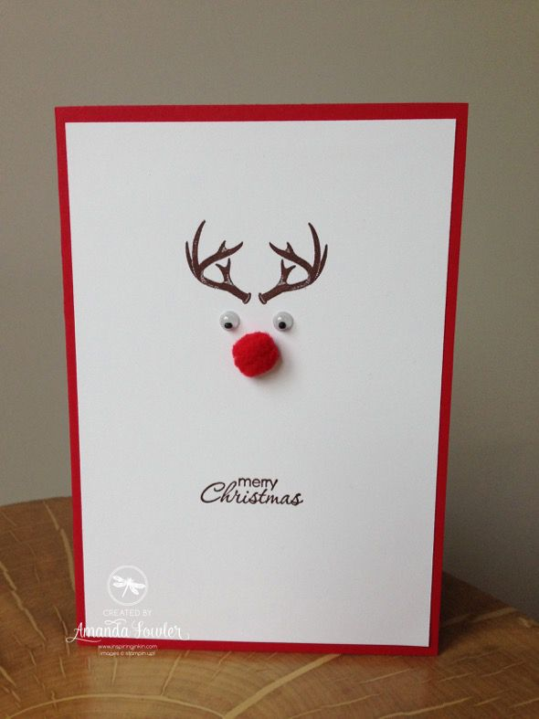 Diy Card Making Ideas Part - 23: Super Speedy Rudolph Card Made With Stampinu0027 Up! Supplies By Amanda Fowler  Of Inspiring · Diy Xmas Cards IdeasDiy ...