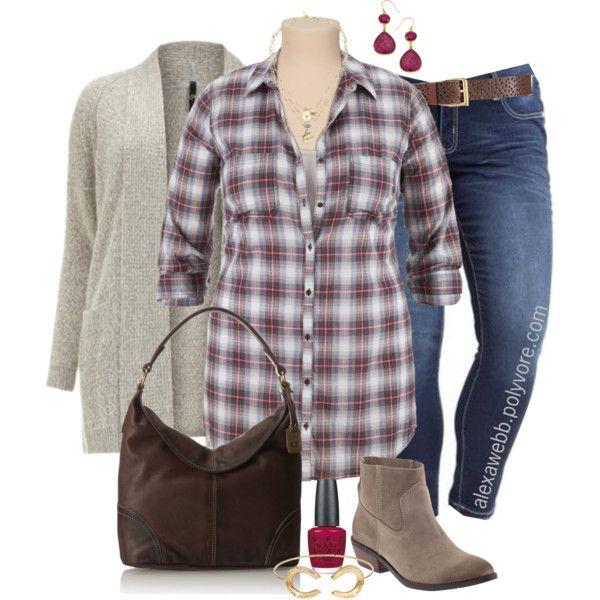 "plus #size #outfit #alexawebb ""plus size - plaid shirt"" by"