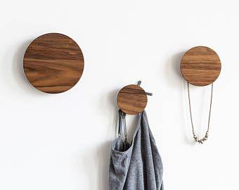 Round coat hooks - coat hooks - entryway hooks - coat wall hooks - decorative hooks - clothes hanger - coat knobs - walnut coat hook & Coat hooks - wall hooks - modern coat hooks - wood wall hooks - wall ...