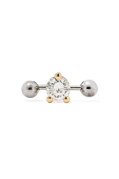 Delfina Delettrez 18 Karat Yellow And White Gold Diamond Earring