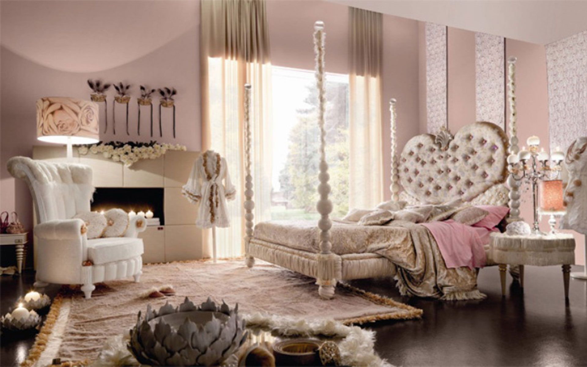 pretentious idea four post bed. Glamorous Girls Bedroom Decorating Idea with Charming Four Poster Bed Frame  and Tufted Heart Shaped Headboard
