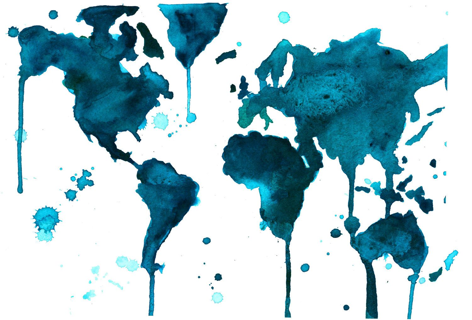 Watercolor World Map Painting By Jessica Durrant A Teal