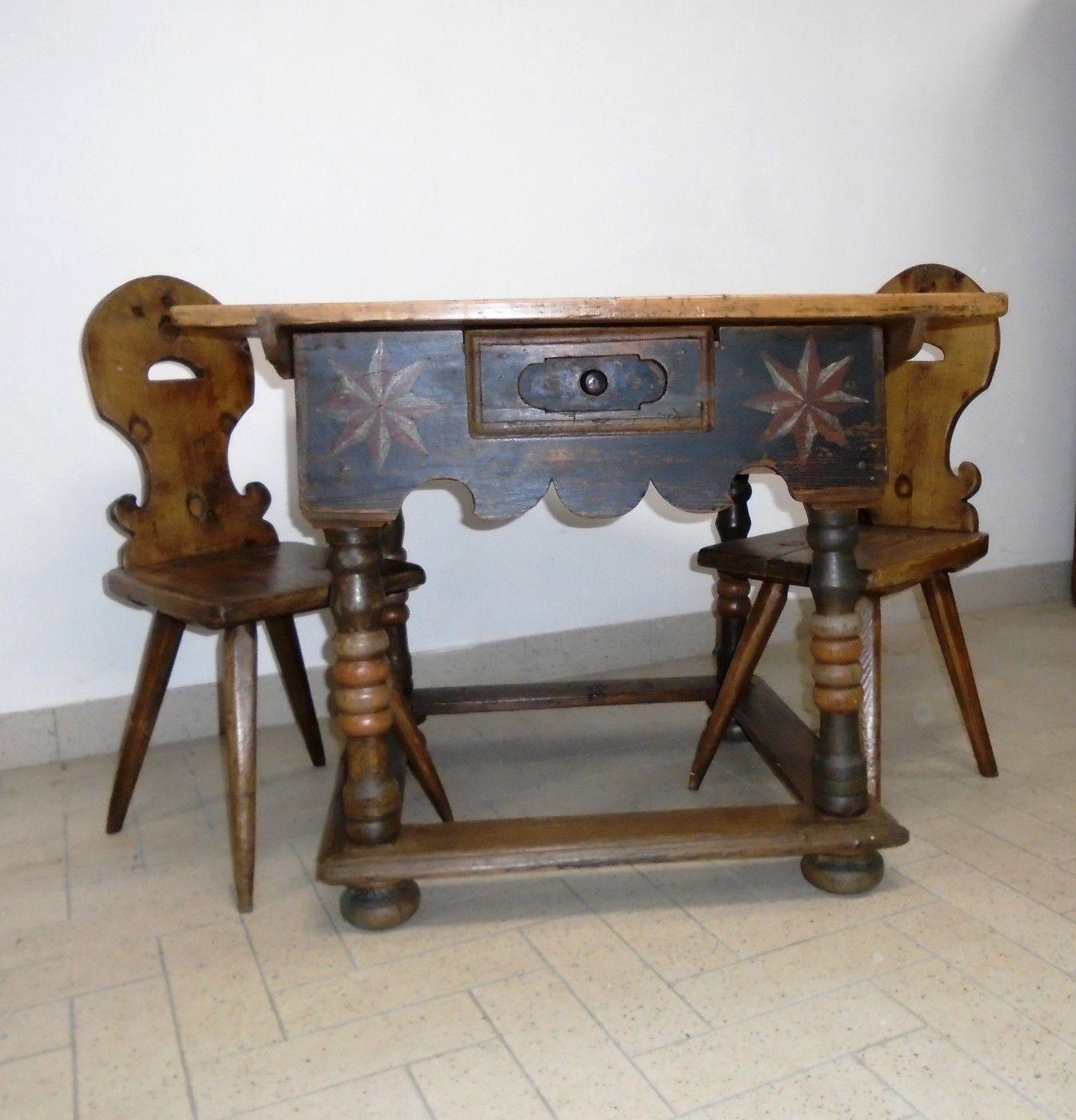 Mobili In Legno Massiccio Trentino tavolino dipinto - prov. trentino | antichità evelina