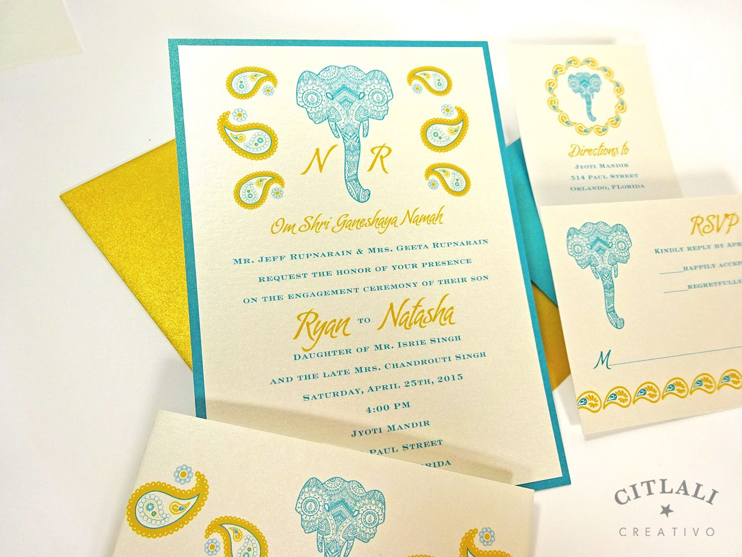 Indian Elephant Invitations Wedding Invitations in Paisley Gold and ...