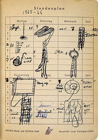 Eva Hesse American, born in Germany (1936-1970) German notebook page with drawing, 1965-66, ink