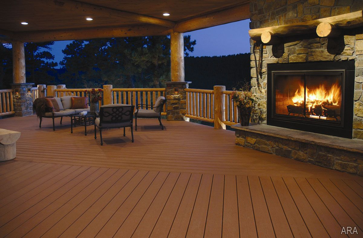 Install An Outdoor Fireplace On Your Deck To Keep Warm On Colder Nights.  Shown: EverGrain Composite Decking   Redwood