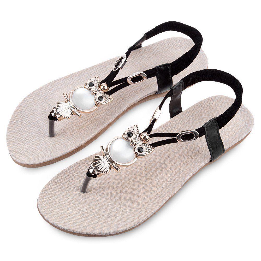 Women Bohemia Owl Rhinestone Flat Beach Sandals Slippers Flip Flops Thong Shoes