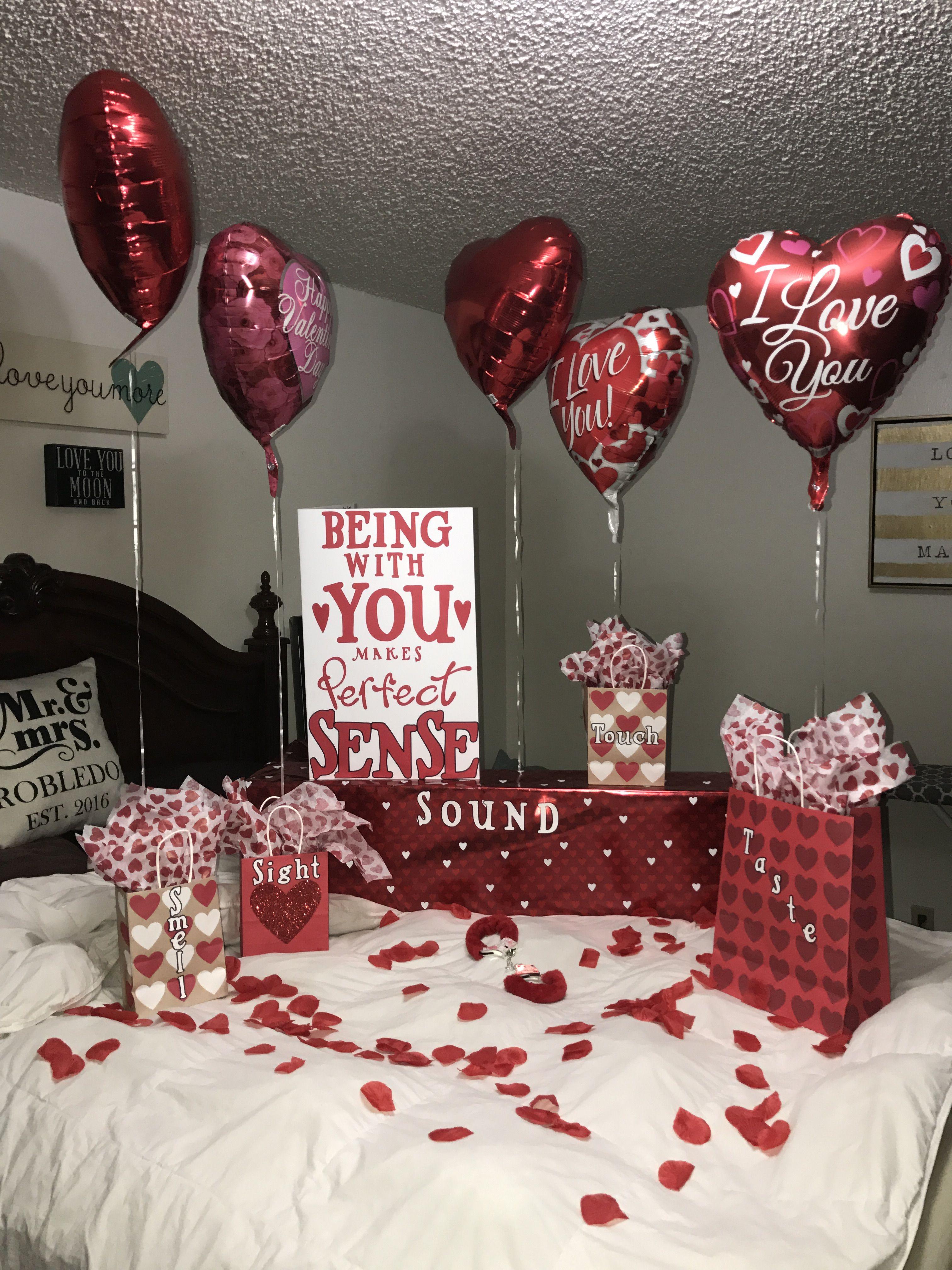 Valentine S Day Surprise For Him 5 Senses Anniversarygifts Valentines Gifts For Boyfriend Surprise Gifts For Him Diy Valentines Gifts