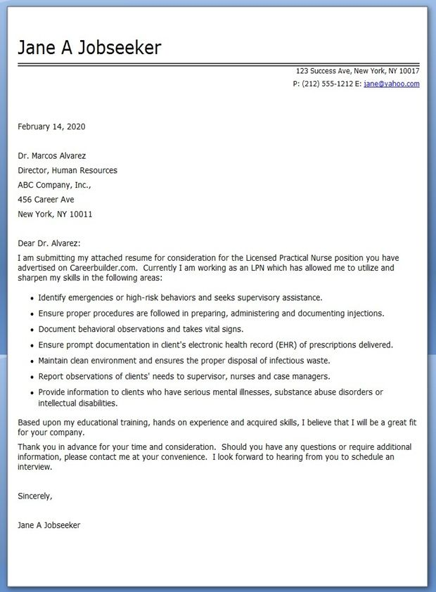 Exceptional LPN Cover Letter For Resume