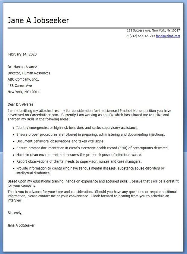 new grad lpn cover letter