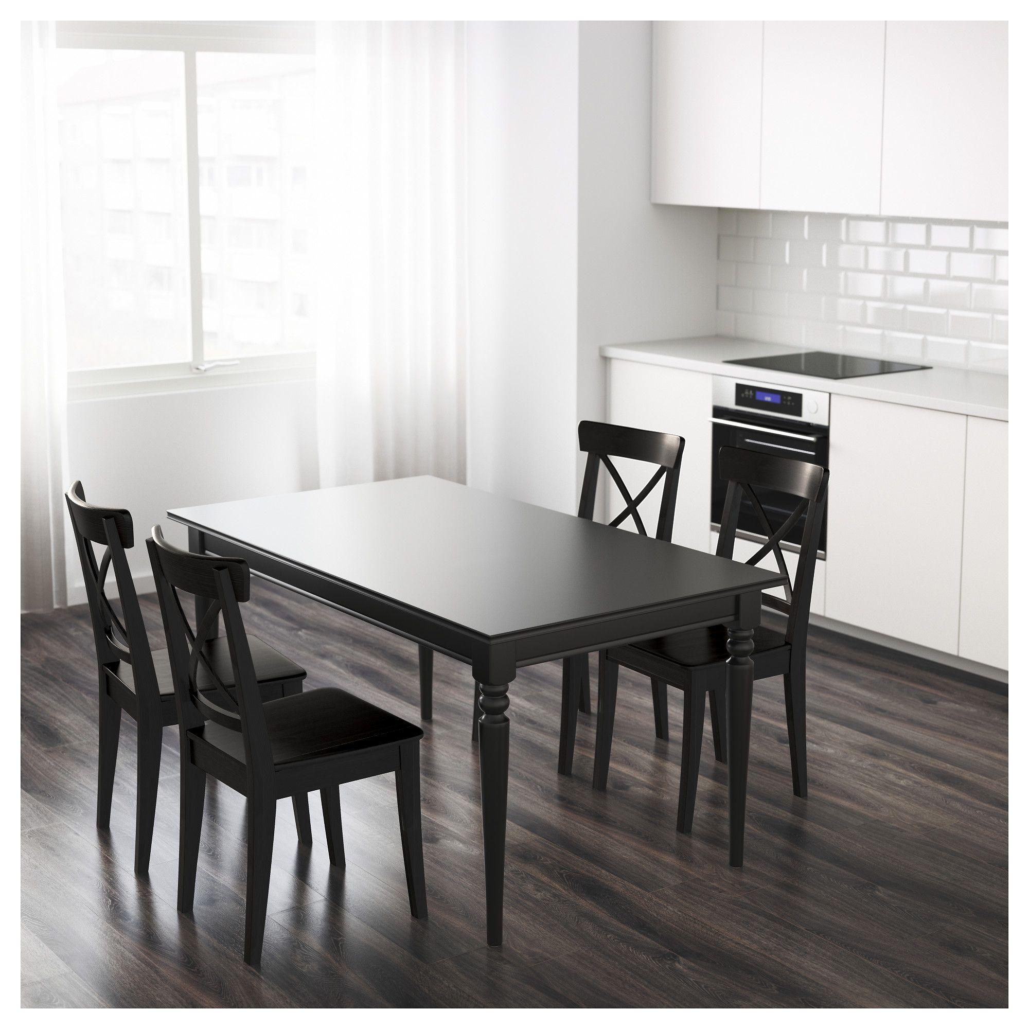 IKEA INGATORP Black Extendable table | Tavoli da pranzo ...