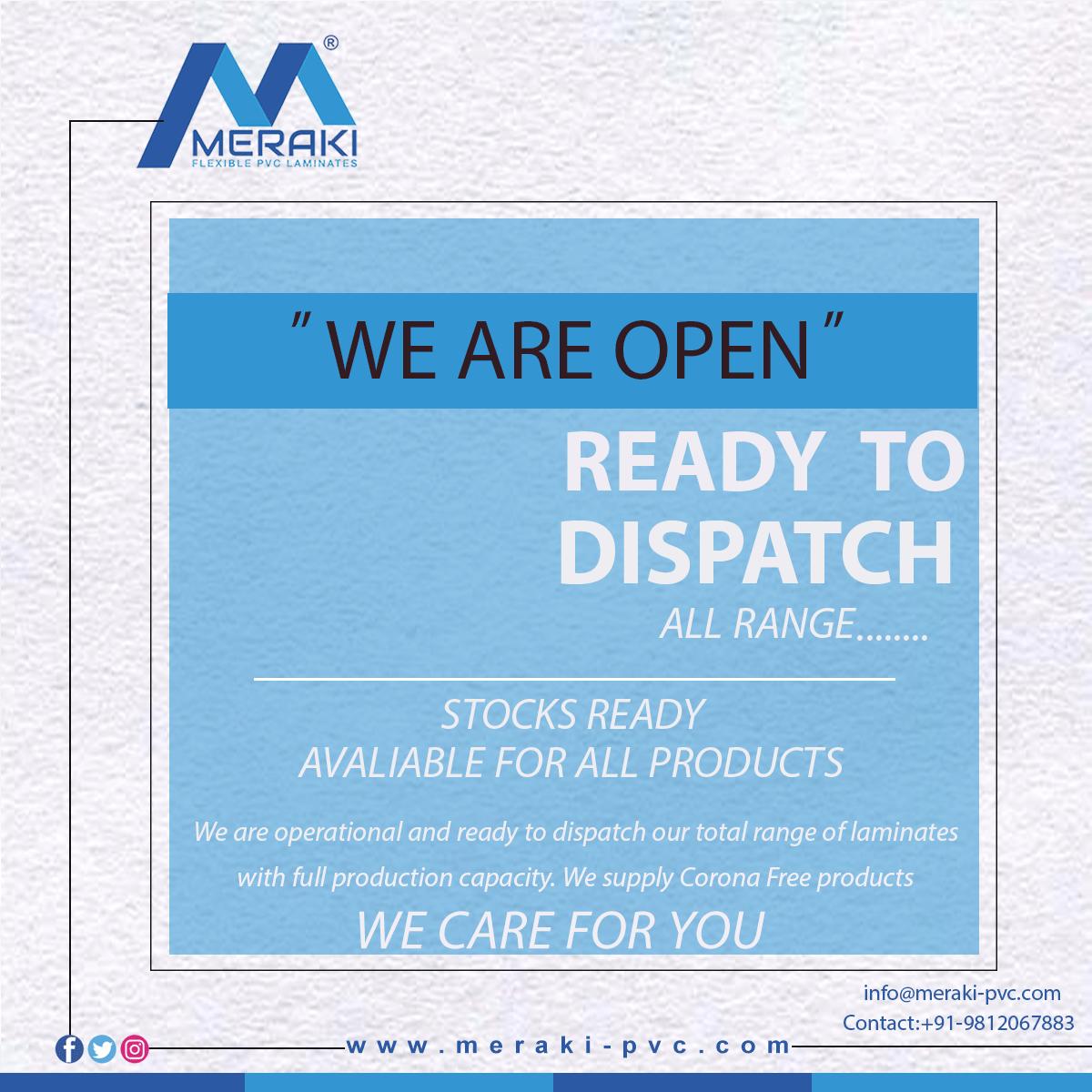 Merakipvclaminatesindia: We are Open, Ready to Dispatch  ................... We are operational and ready to dispatch our total range of laminates with full production capacity. We supply Corona Free products, we Care for you. Visit our website: www.meraki-pvc.com Contact:+91-9812067883 #merakiPVClaminates #Solid #HighGloss #Collections #colourcore #bestrange #fabulous #innovative #design  #90degreebendable #innovativedesigns #Homedecor #design #luxuryshades #Decorativelaminates #decor #Interior