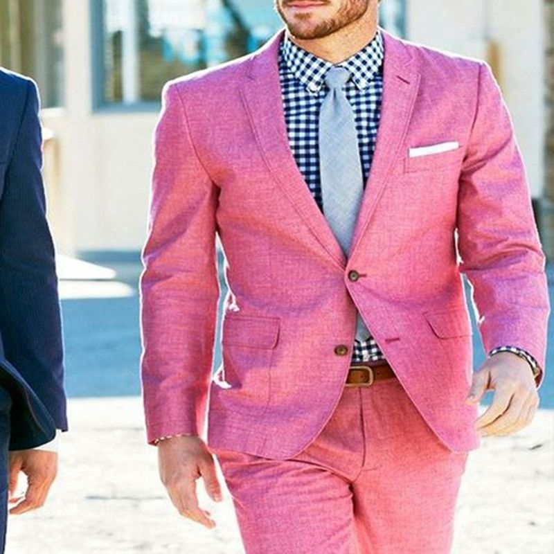 2017 New Pink Linen Beach Wedding Suits 2 Piece Groom Tuxedo Mens ...