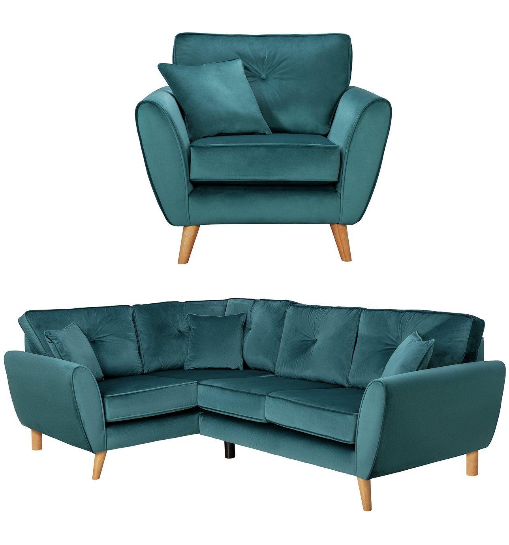 Buy Argos Home Isla Velvet Chair Left Corner Sofa Teal Sofa Sets In 2020 Teal Sofa Corner Sofa Sofa Set