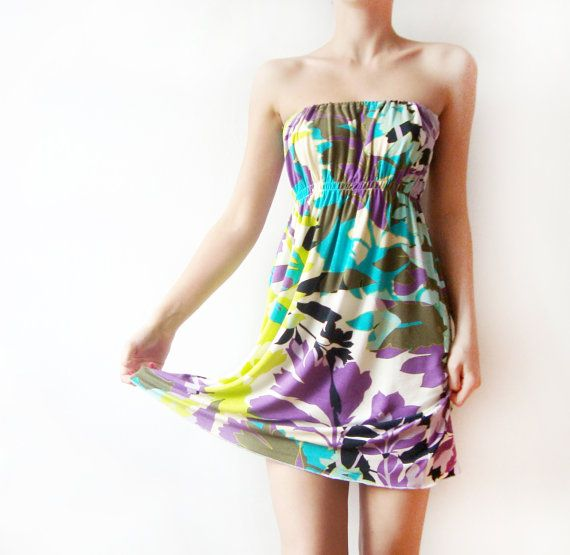 Bright Strapless Jersey Mini Dress  leaves and by WhimsyTime - super cute for summer!