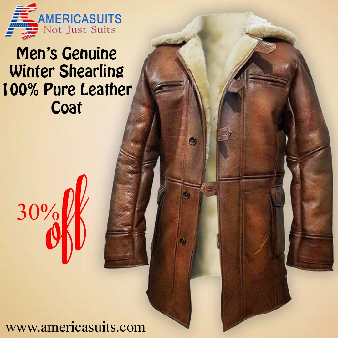 Men's Genuine Shearling Winter Coat (With images