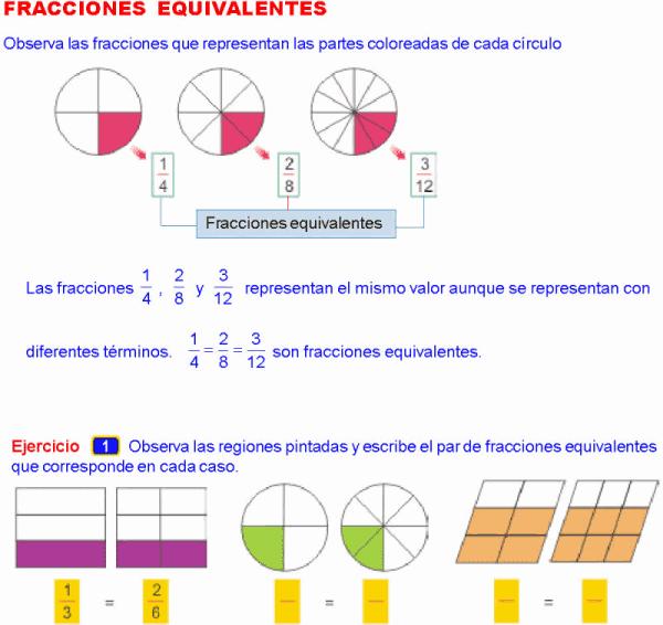 Aprendo En Casa Fracciones Equivalentes Ejemplos Y Ejercicios Resu Fracciones Equivalentes Fracciones Fracciones Equivalentes Ejercicios
