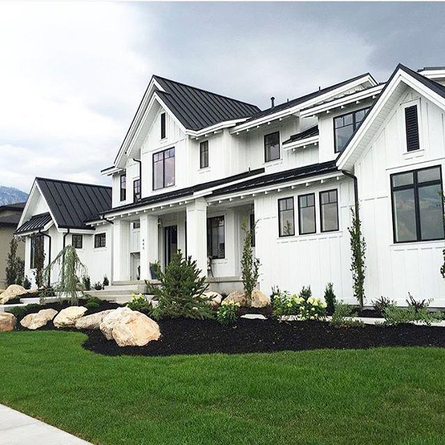 28++ White farmhouse with black windows best