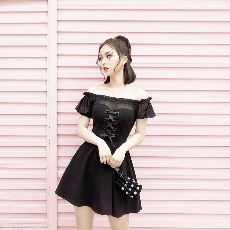8c030f26cb780 Japanese Summer Black Heart Ribbon Mesh Sheer Shoulderless Dress ...