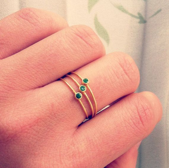 Thin Stacking Rings - Set of Three - Delicate Gold Rings - 14k Solid Gold via Etsy #ring #gold #emerald