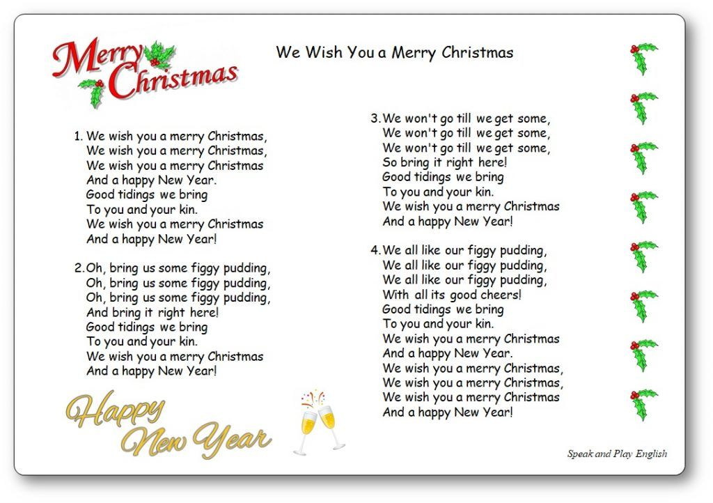 Nursery Rhymes Poems And Songs For Children Speak And Play English In 2020 Christmas Songs Lyrics Nursery Rhymes Christmas Lyrics