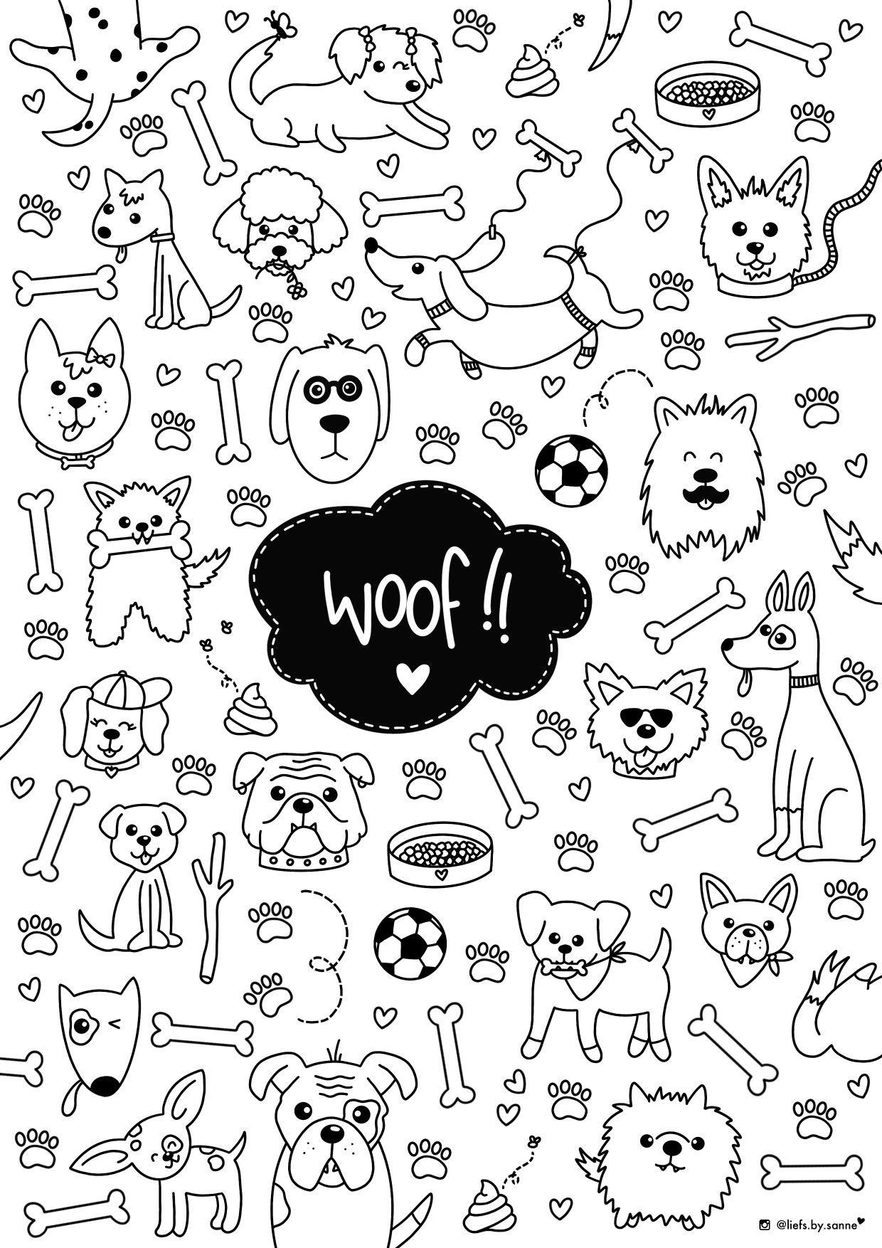 Honden Hond Dog Dogs Kleurplaat Coloring Page Kleurplaten Dieren Huisdieren