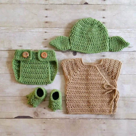 fbecde1532d Crochet Baby Yoda Star Wars Set Hat Beanie Diaper Cover Robe Shirt Shoes  Slippers Booties Newborn Infant Photography Photo Prop Handmade