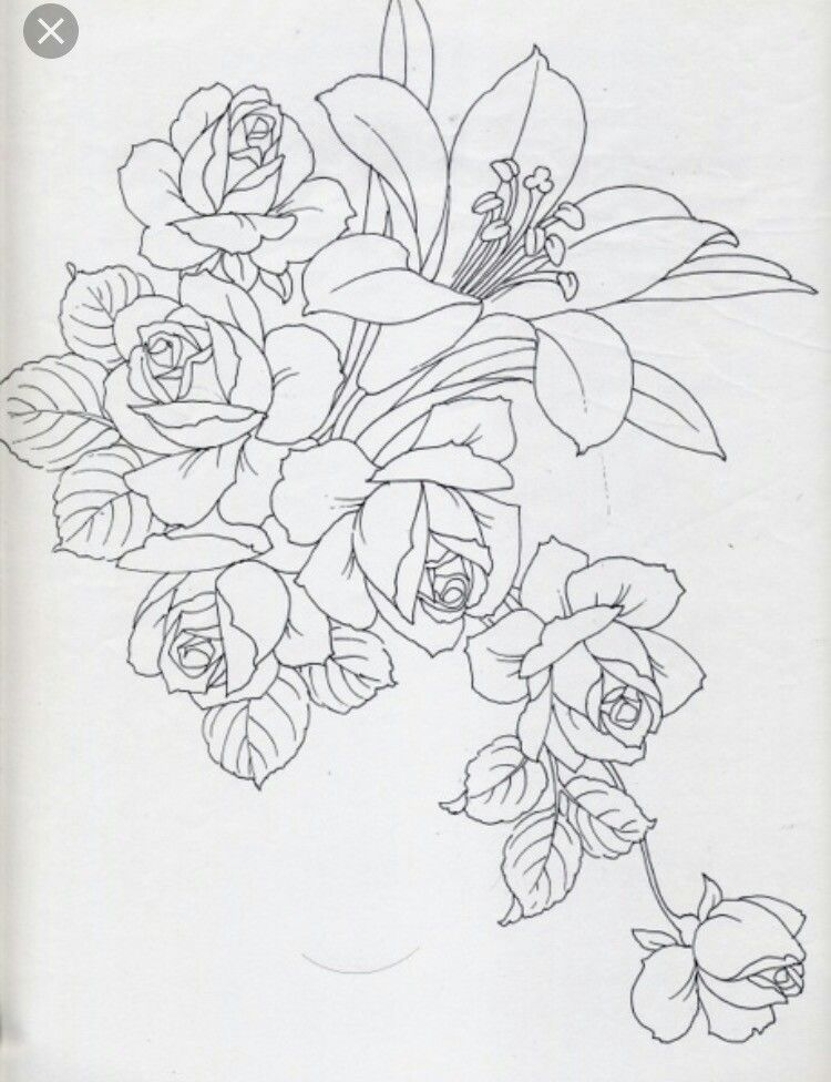 Embroidery Roses In 2020 Flower Drawing Embroidery Art Fabric Painting