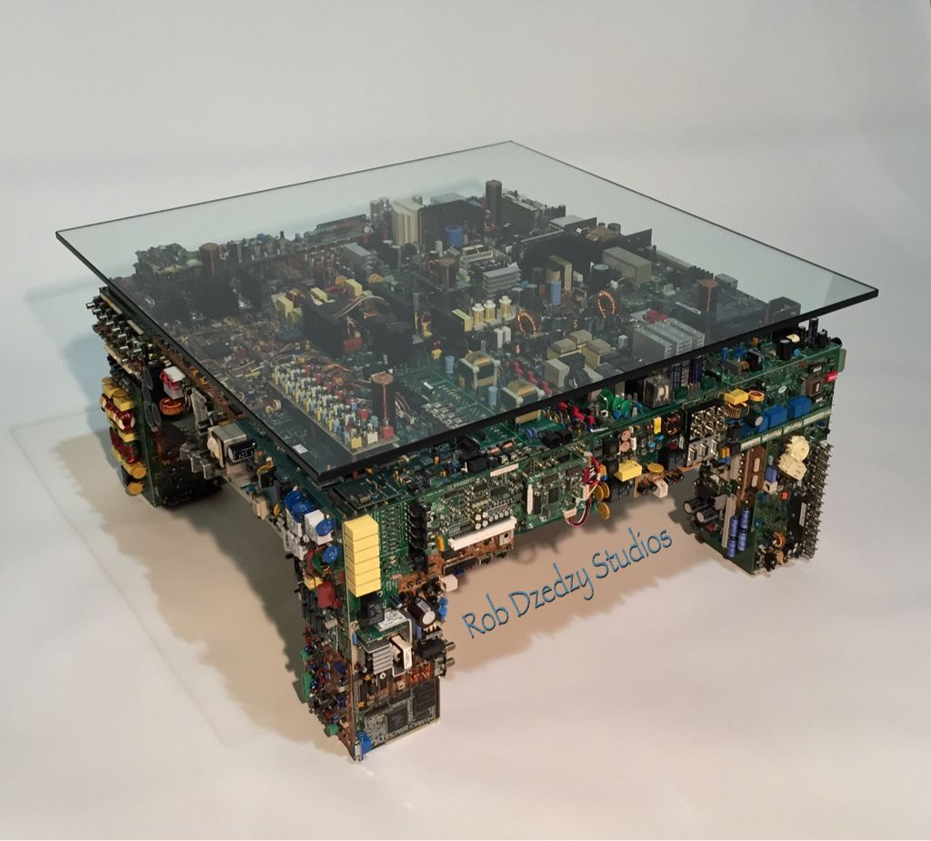custom coffee table made from recycled circuit boards from audio rh pinterest com