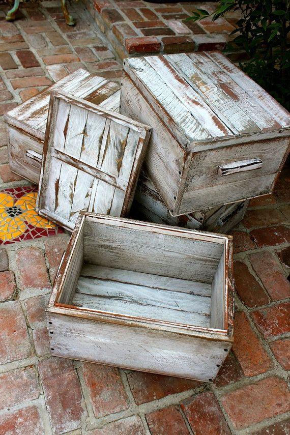 Wood box with lid storage organizer handmade rustic home