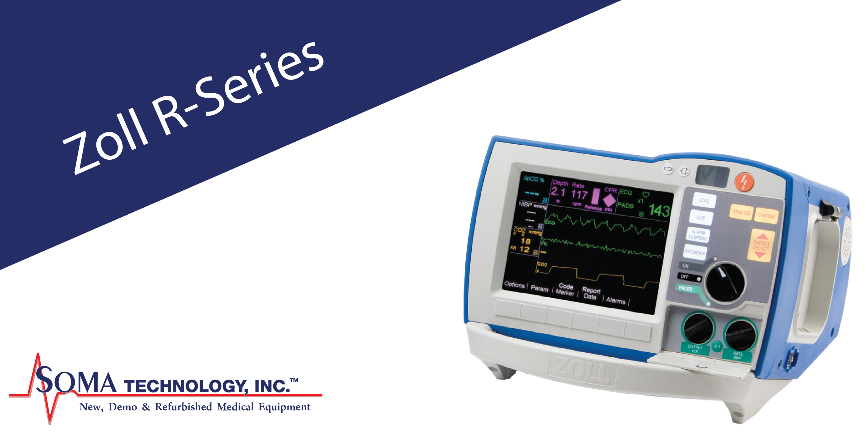 Zoll R-Series Defibrillator - Available with Pacing, End-Tidal CO2