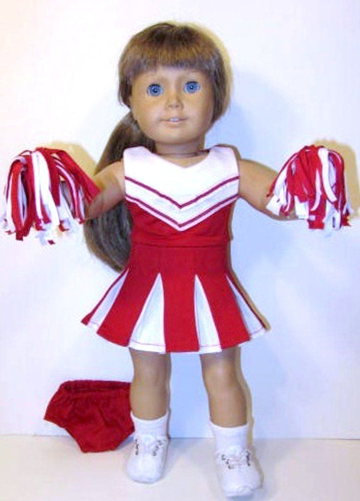 Complete Red White Cheerleader Outfit, Fits 18″ American Girl Dolls. Cheerleader Dress & 2 Pom Poms White Socks and White Sneakers 18 Inch Doll Clothes! #18inchcheerleaderclothes
