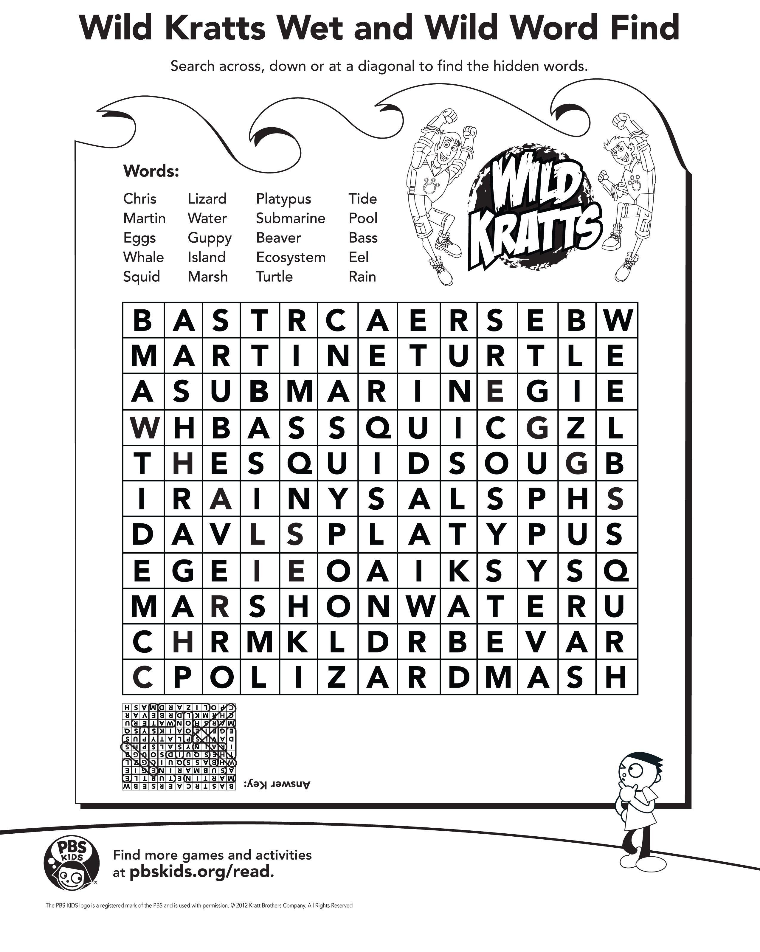 Wild Kratts Word Find