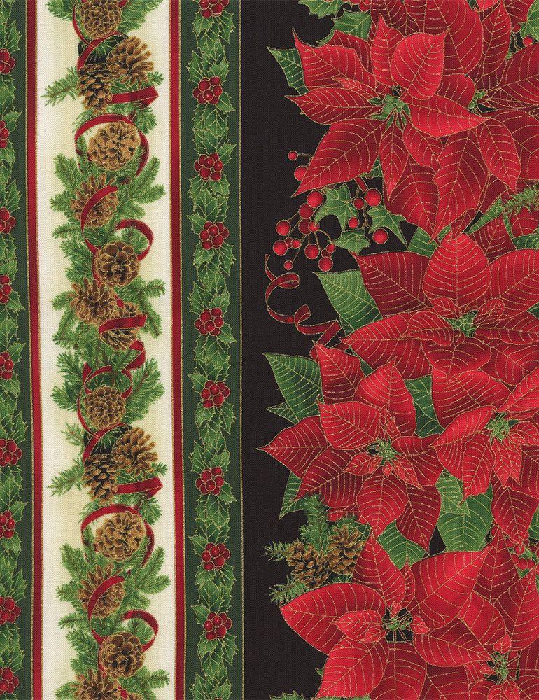Black red green white stripe metallic gold christmas