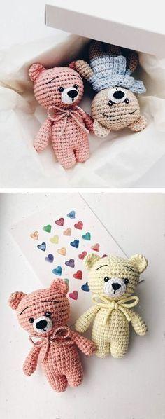 Free tiny crochet animal patterns #crochetbear
