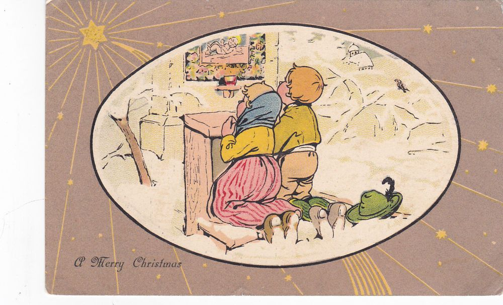 CHRISTMAS, PU-1907; Two Kids Pray In Snow Under Star #Christmas