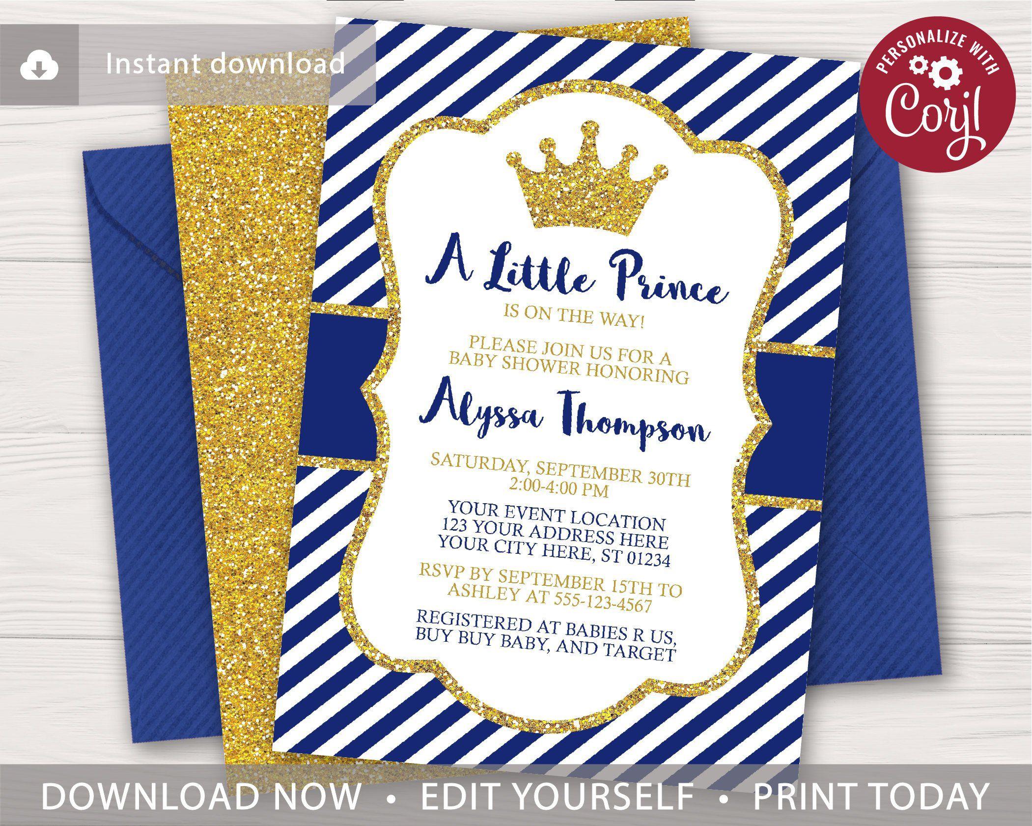 Prince Baby Shower Invitation Editable Template Online Etsy Royal Baby Shower Invitation Prince Baby Shower Prince Baby Shower Invitations Royal baby shower invitation template
