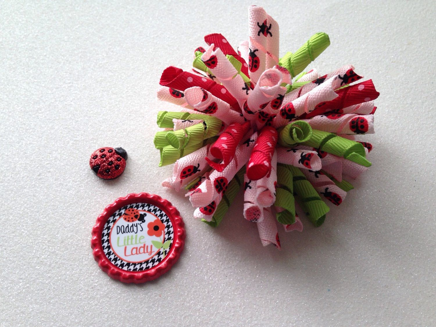 Lady bug korker bow. Choose add on by LillyBeanBowtique on Etsy https://www.etsy.com/listing/232018984/lady-bug-korker-bow-choose-add-on