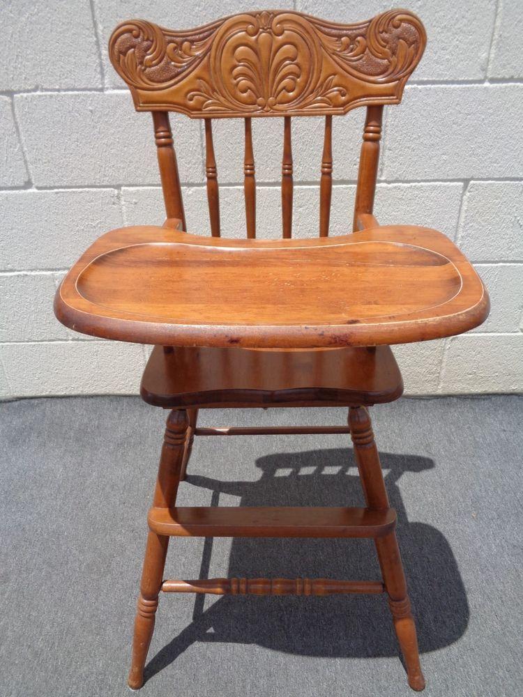 Vintage Wood Carved Back Furniture Oak High Chair Highchair Wood High Chairs,  Baby Carriage, - Vintage Wood Carved Back Furniture Oak High Chair Highchair Retro