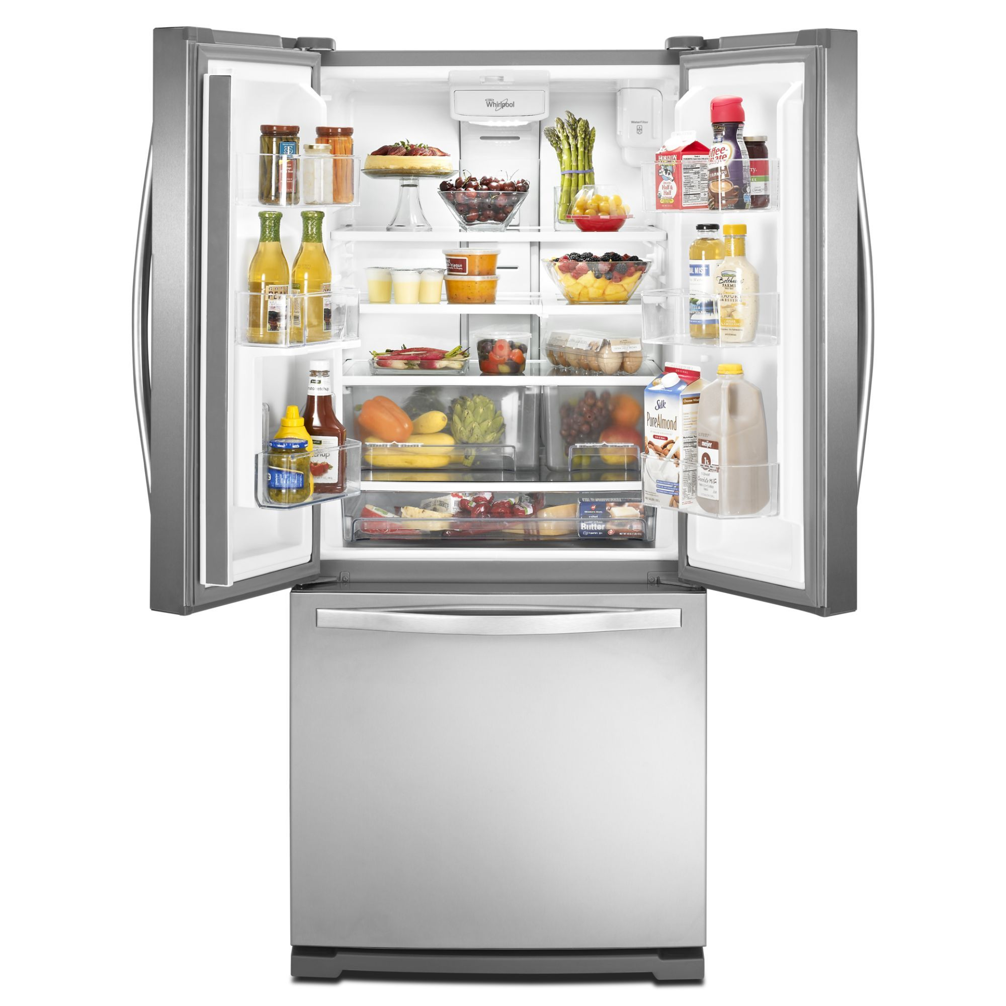 Whirlpool Wrf560seym 19 7 Cu Ft French Door Refrigerator W Exterior Dispenser Stainless Steel French Door Refrigerator French Doors Refrigerator