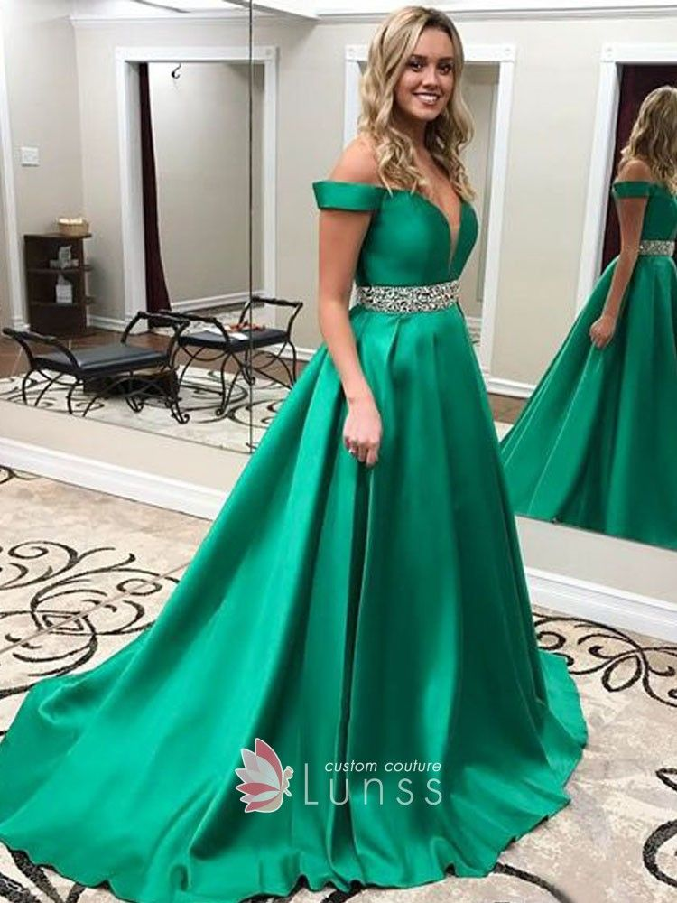 c6fc15272bfb Classy green satin floor length prom ball gown. Off-the-shoulder plunging  neckline. Natural waist with beading belt.