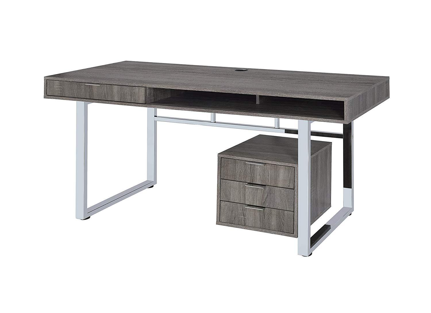 Elegant Contemporary Style Wooden Writing Desk Gray Desk With Drawers Wood Office Desk Desk