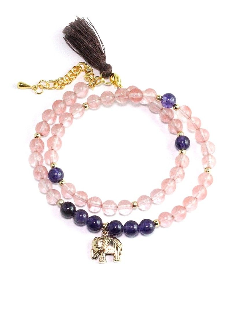 "✪ Kurze Armband-Mala ""Lucky Elephant"" mit Cherry Quarz & Amethyst in zartem Rosa un d Purple Yogaschmuck fürs Herz - versandkostenfrei! ✪"
