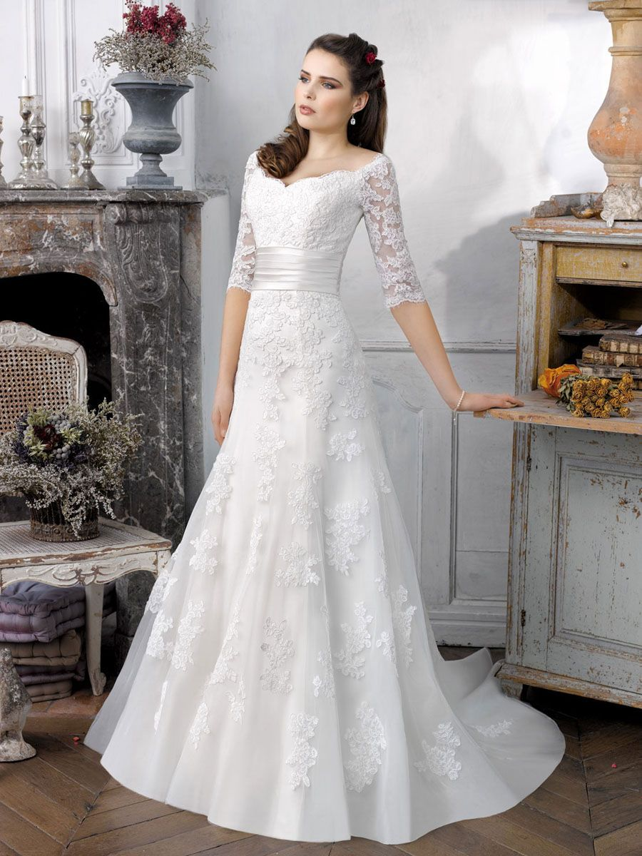 Wedding dresses with train  White Lace Wedding Dress with Half Sleeves  Wedding Dresses