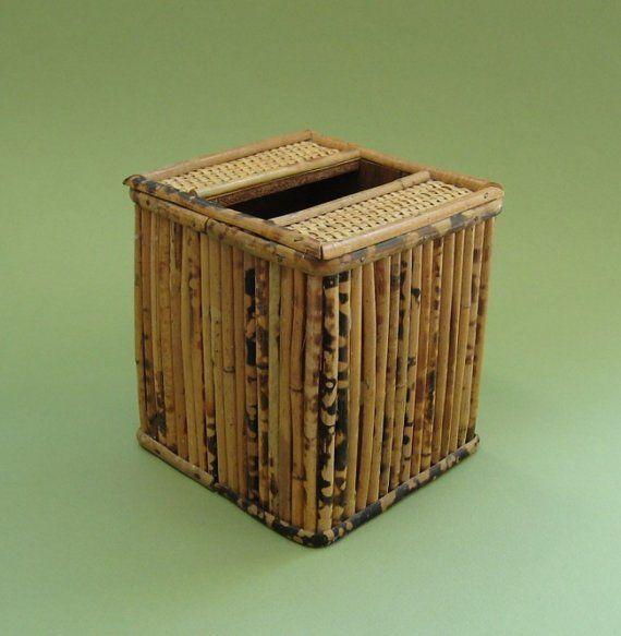 Bamboo Tissue Box Cover Stylish Vintage Cube Kleenex Holder