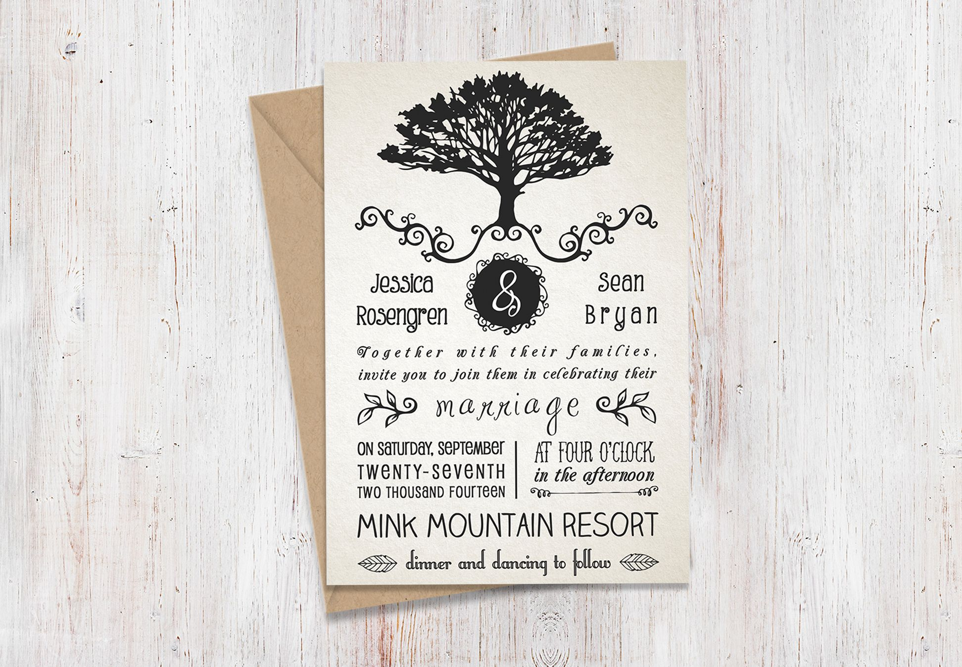 Rustic Wedding Invitation Pack includes: Wedding Invitation, RSVP, Save The Date and Thank You. Also available in the Northern Woods Collection! All text and colors are editable.