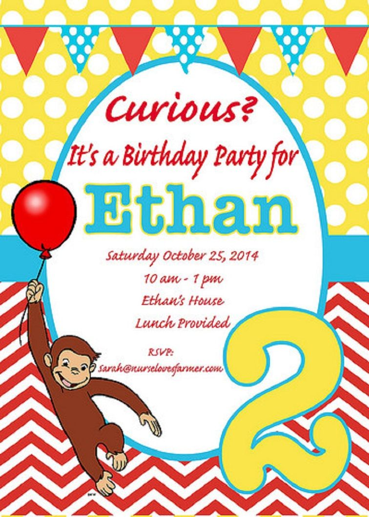 Curious George 2nd Birthday Invitations