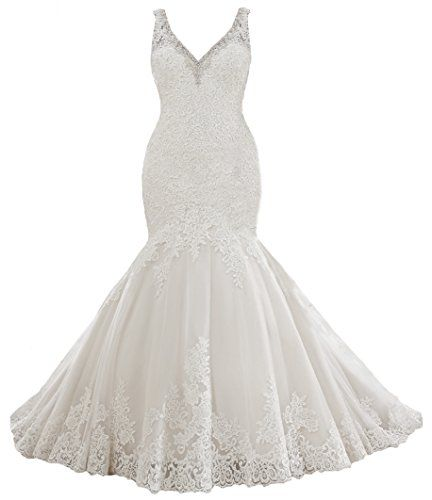 QueenBridal Women V-Neck Lace Bridal Gown Beaded Mermaid