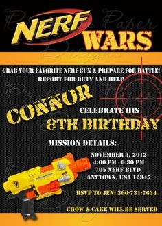 Nerf Gun - Tall - Birthday Party - Invitation